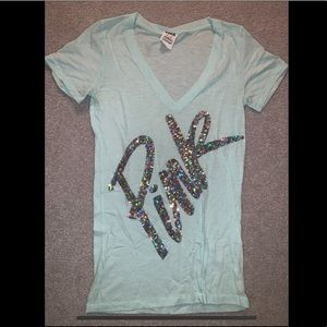 Mint green t shirt with sequins